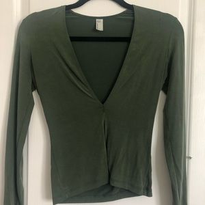 Long sleeve fitted v-neck